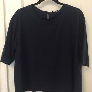 NWT Navy Zip Back Short Sleeve Sweater Top